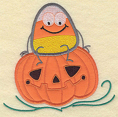 Embroidery Design: Candy Corn applique on pumpkin large 7.56w X 7.38h
