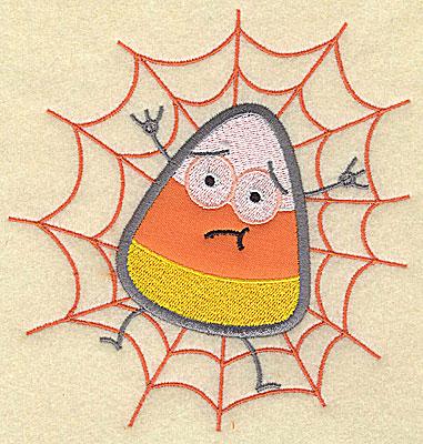 Embroidery Design: Candy Corn applique in spider web small 5.19w X 4.88h