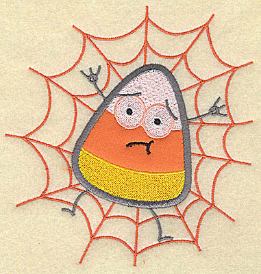 Embroidery Design: Candy Corn applique in spider web large 7.75w X 7.31h