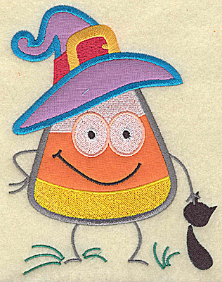 Embroidery Design: Candy Corn applique with black cat medium 7.13w X 5.44h
