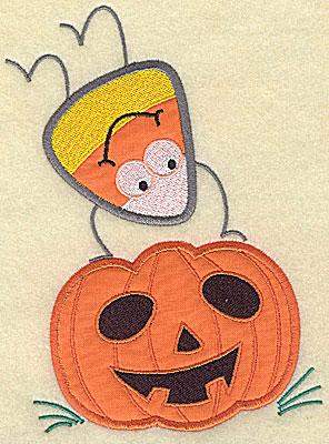 Embroidery Design: Candy Corn applique handstand on pumpkin medium 8.00w X 6.06h