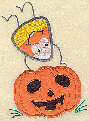 Embroidery Design: Candy Corn applique handstand on pumpkin large 9.63w X 7.25h
