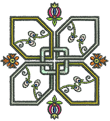Embroidery Design: Tudor flower design 1 3.86w X 4.23h