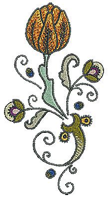 Embroidery Design: Tudor flower design 2 3.11w X 5.98h