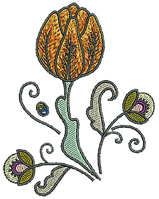 Embroidery Design: Tudor flower design 3 3.11w X 3.96h