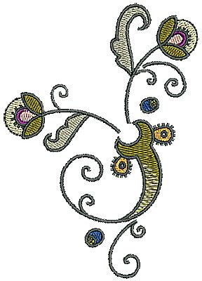 Embroidery Design: Tudor flower design 4 3.11w X 4.40h