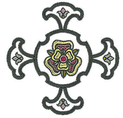 Embroidery Design: Tudor flower design 5 4.96w X 4.96h