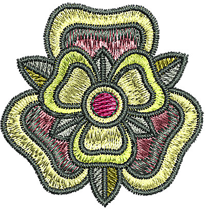 Embroidery Design: Tudor flower design 6 1.69w X 1.70h