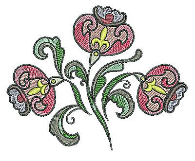 Embroidery Design: Tudor flower design 7 4.96w X 3.98h