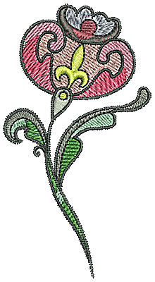 Embroidery Design: Tudor flower design 8 2.15w X 3.98h