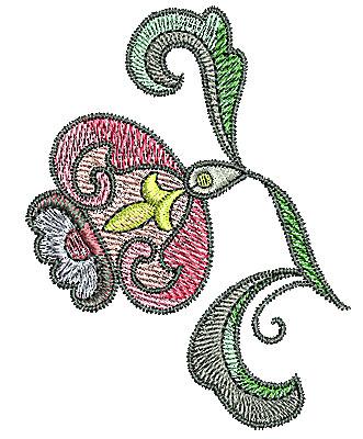 Embroidery Design: Tudor flower design 9 2.32w X 3.03h