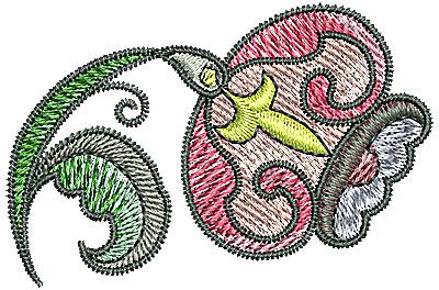 Embroidery Design: Tudor flower design 10 2.35w X 1.56h