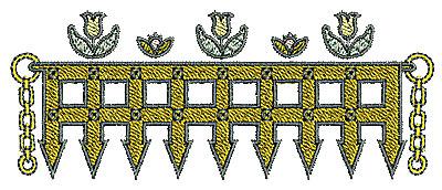 Embroidery Design: Tudor fence design 4.83w X 1.91h