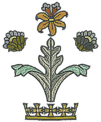 Embroidery Design: Tudor flower design 13 4.49w X 5.52h