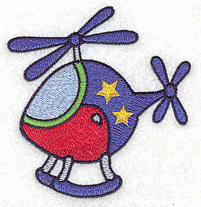 Embroidery Design: Helicopter with stars small 3.31w X 3.48h