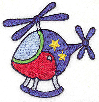 Embroidery Design: Helicopter with stars large 4.30w X 4.52h