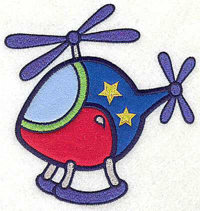Embroidery Design: Helicopter with stars three appliques 5.25w X 4.97h