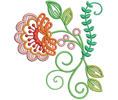 Embroidery Design: Fashionable Flower 1 4.26w X 4.65h