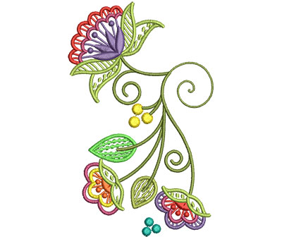 Embroidery Design: Fashionable Flower 2 3.72w X 6.00h