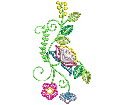 Embroidery Design: Fashionable Flower 4 3.38w X 6.01h