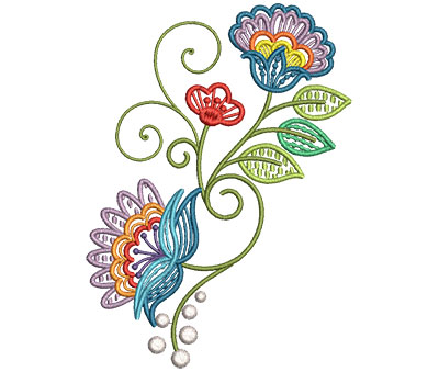 Embroidery Design: Fashionable Flower 5 4.37w X 6.00h
