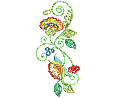 Embroidery Design: Fashionable Flower 6 2.75w X 6.01h