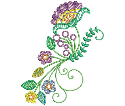 Embroidery Design: Fashionable Flower 8 4.79w X 6.01h