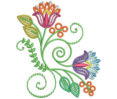 Embroidery Design: Fashionable Flower 9 4.01w X 4.63h