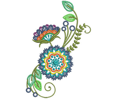 Embroidery Design: Fashionable Flower 10 4.02w X 6.01h