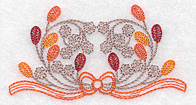 Embroidery Design: Single leaf and berry design 3.47w X 1.83h