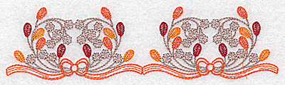 Embroidery Design: Double leaf and berry design 6.91w X 1.83h