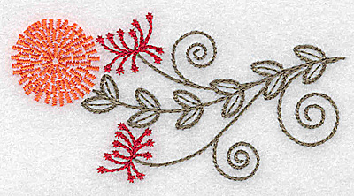 Embroidery Design: Single wildflower design 3.44w X 1.76h