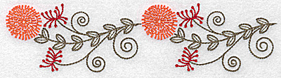 Embroidery Design: Double wildflower design 6.90w X 1.76h