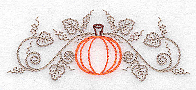 Embroidery Design: Single pumpkin and vines 3.27w X 1.29h