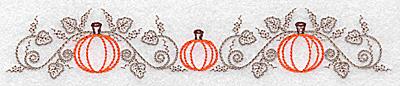 Embroidery Design: Double pumpkin and vine design 6.94w X 1.29h