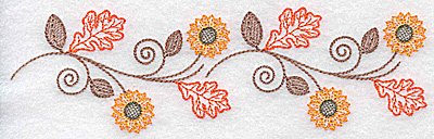 Embroidery Design: Double sunflower and leaf leaf design 6.93w X 2.06h