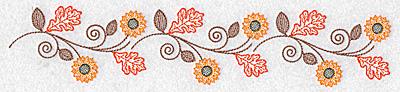 Embroidery Design: Sunflower and oak leaf border 10.20w X 2.06h