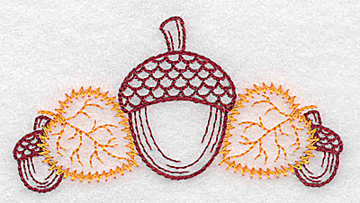Embroidery Design: Single acorn and leaf design 3.49w X 1.84h