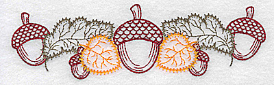 Embroidery Design: Double acorn and leaf design 6.33w X 1.84h