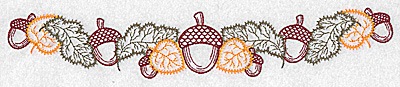 Embroidery Design: Acorn and leaf border 10.80w X 1.89h