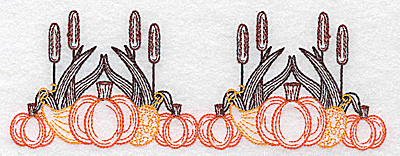 Embroidery Design: Double pumpkin and bulrush design 6.94w X 2.56h