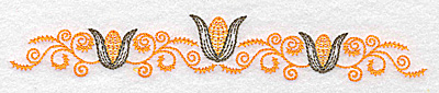 Embroidery Design: Double corn and swirl design 6.93w X 1.07h