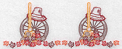 Embroidery Design: Double leaf and rake design 6.96w X 2.80h