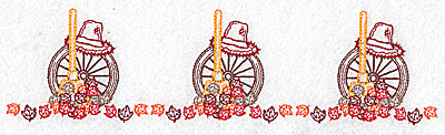 Embroidery Design: Leaf ad rake border 10.48w X 2.80h
