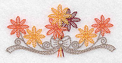 Embroidery Design: Single flower and bow design 3.46w X 1.70h