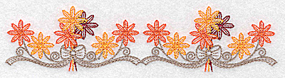 Embroidery Design: Double flower and bow design 6.91w X 1.70h