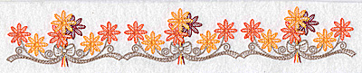 Embroidery Design: Flower and bow border 10.36w X 1.70h