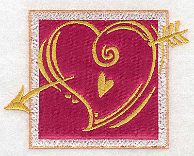 Embroidery Design: Valentine heart and arrow applique small 3.81w X 2.88h