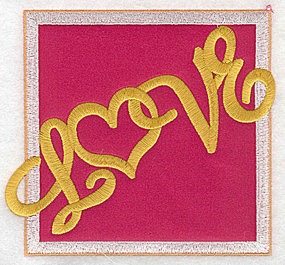 Embroidery Design: Love applique large 4.99w X 4.52h