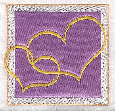 Embroidery Design: Valentine applique two hearts small 3.63w X 3.63h